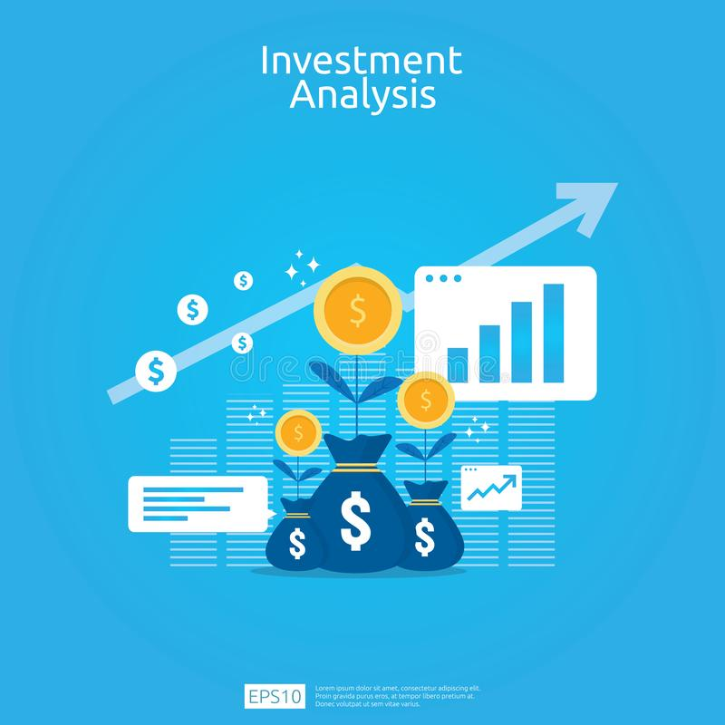 Financial investment analysis concept for business marketing strategy banner. Return on investment ROI vision with graph chart. stock illustration