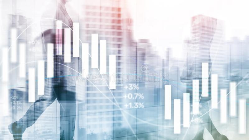 Financial Investment Concept. Stock market trading graph and candlestick chart.  stock image