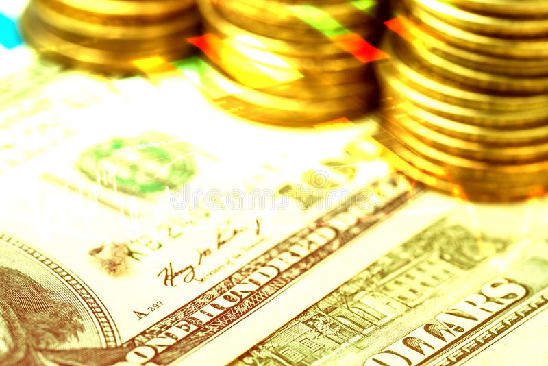 Financial investment document, money and stock graph. Indicator royalty free stock photography