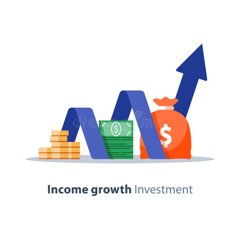 Financial investment, pension fund, banking services, budget plan, finance report, income growth, retirement savings. Income growth chart, banking services vector illustration