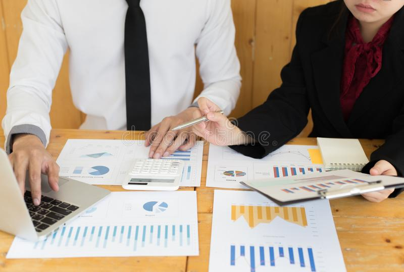 Financial and investment planning, Head of Marketing is analyzing data from the summary graph statistics for executives, business. Meetings stock photos