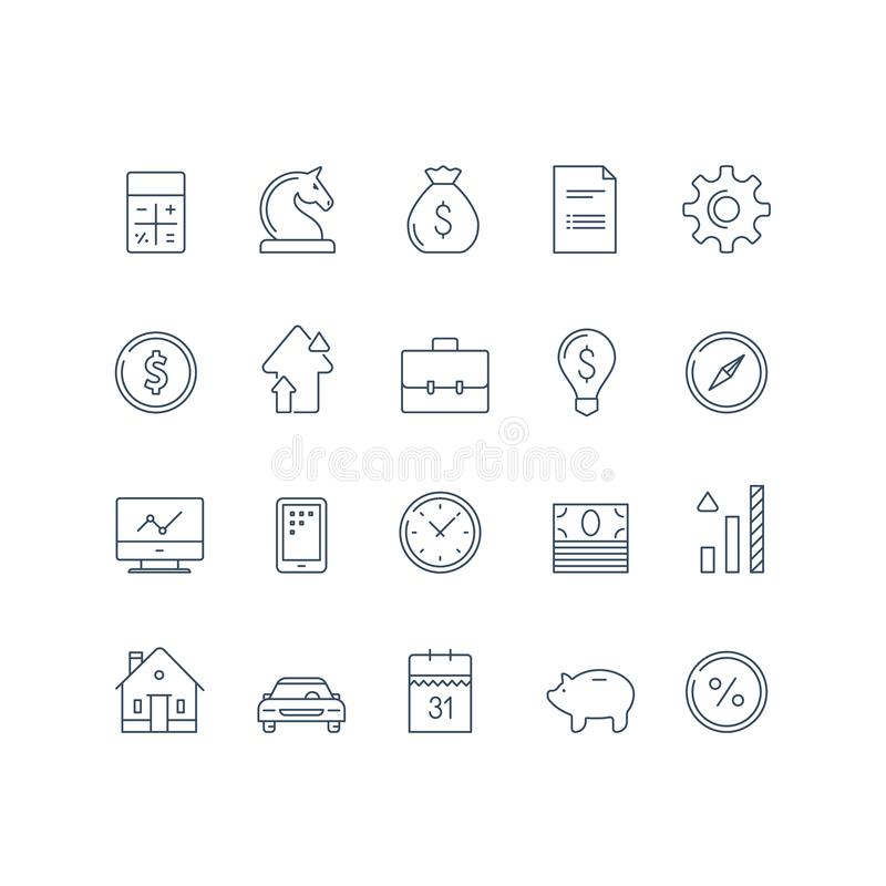 Bank service, financial item set, income growth, interest rate, car payment, expenses calculation, house mortgage, vector icon. Financial item set, bank service stock illustration