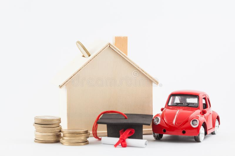 Financial life goals and savings concept. Car, house and scholarship isolated stock images