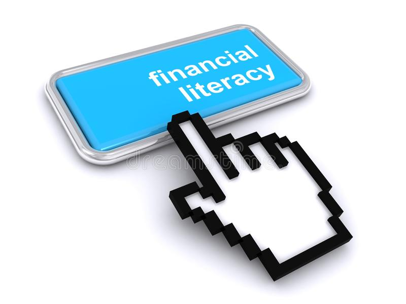Financial literacy button royalty free illustration
