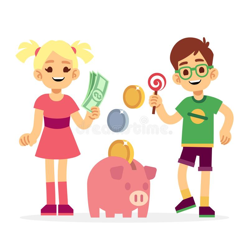 Financial literacy of children concept. Kids saving money with piggy bank stock illustration