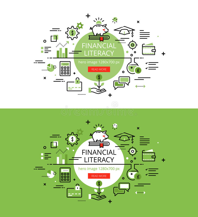 Financial Literacy. Flat line color hero images and hero banners vector illustration