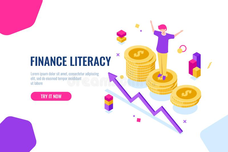 Financial literacy isometric, money accounting, economic illustration with woman who stand on podium, economics strategy vector illustration