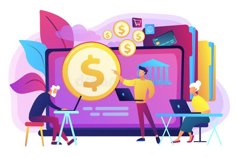 Financial literacy of retirees concept vector illustration. royalty free illustration