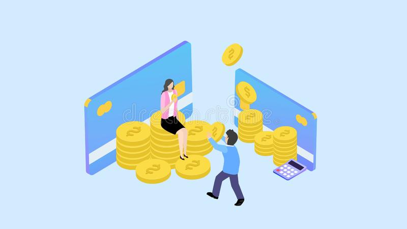Financial management concept. Can use for web banner, infographics, hero images. Flat isometric element vector illustration vector illustration