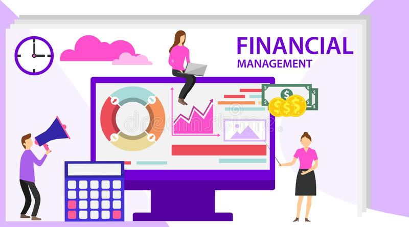 Financial management concept. Project management financial report strategy. Can use for web banner, infographics, hero images vector illustration