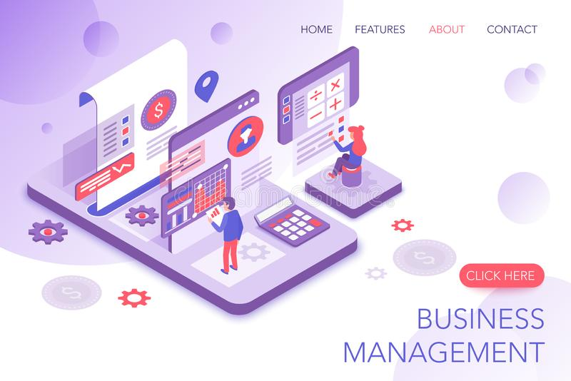 Financial management, corporate statistics, business marketing modern 3d isometric vector website landing page template royalty free illustration