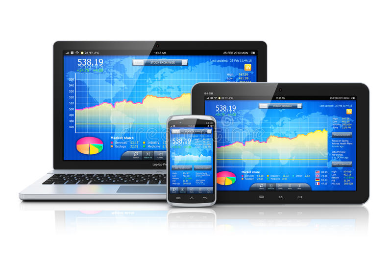 Financial management on mobile devices stock illustration