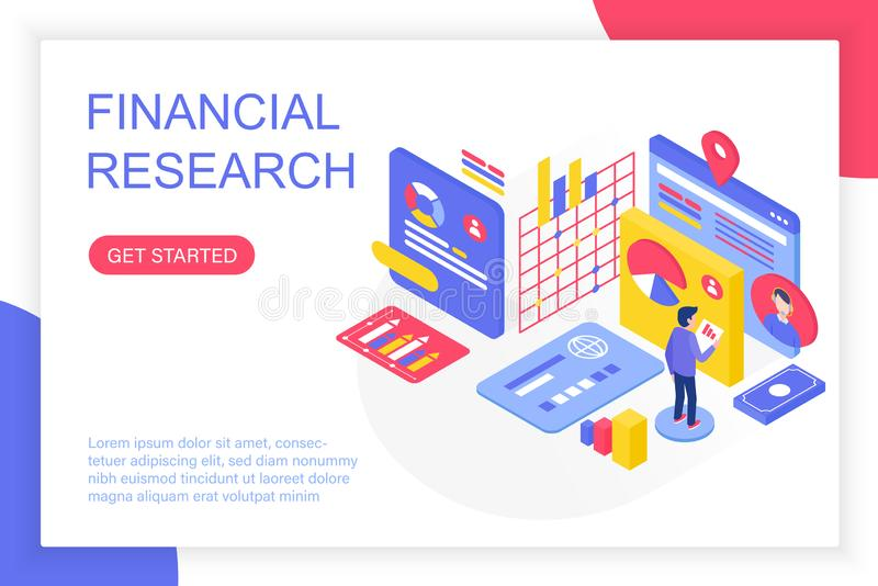 Financial management research, business solution, finance investment analysis 3d isometric vector illustration. People royalty free illustration