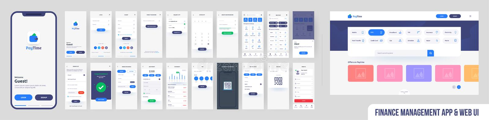 Financial management services onboarding mobile website UI or UX. royalty free illustration
