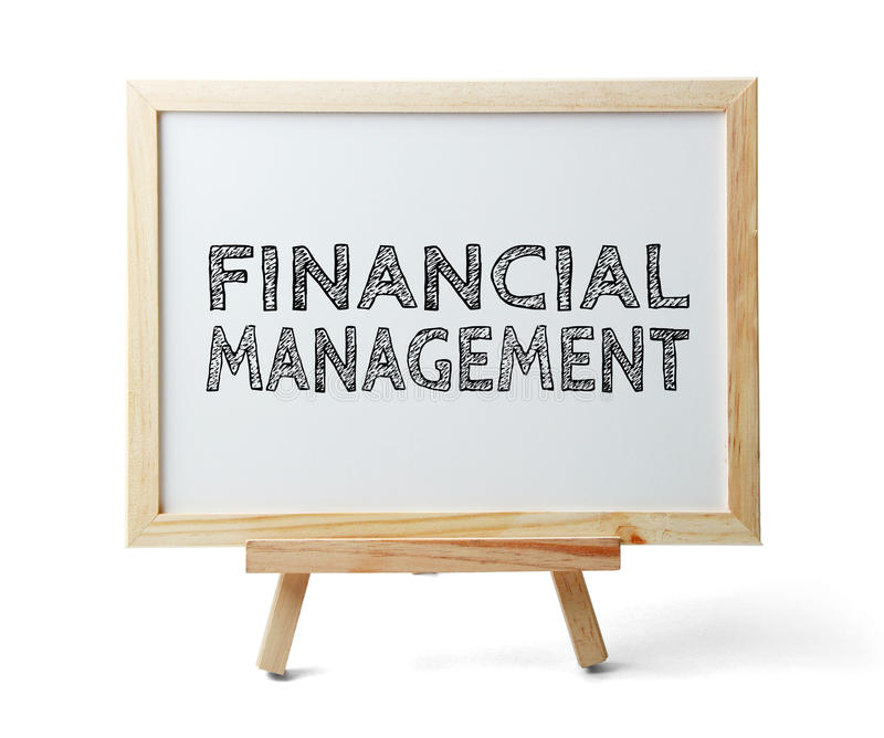 Financial Management. Whiteboard with text Financial Management is isolated on the white background stock photo