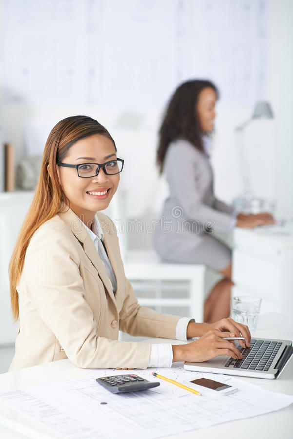Financial manager with laptop royalty free stock photography