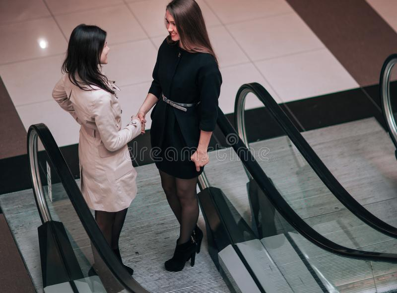 Financial manager meets the client in the foyer of the modern of stock images