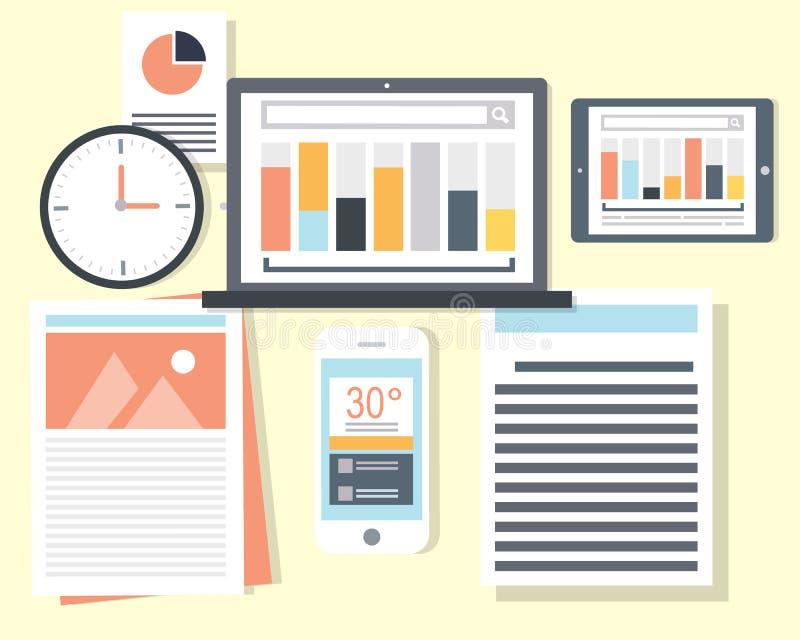 Financial Managers Data. Illustrations vector illustration