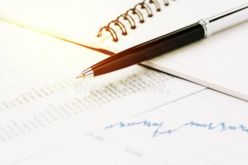 Financial market price list, stock, bond or equity analysis for stock photography