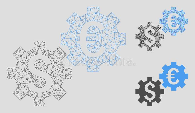Financial Mechanics Vector Mesh Carcass Model and Triangle Mosaic Icon. Mesh financial mechanics model with triangle mosaic icon. Wire frame triangular mesh of stock illustration