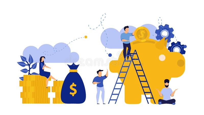 Financial money bank piggy vector people illustration vector with gold coins and money bag. Business flat institution investing royalty free illustration