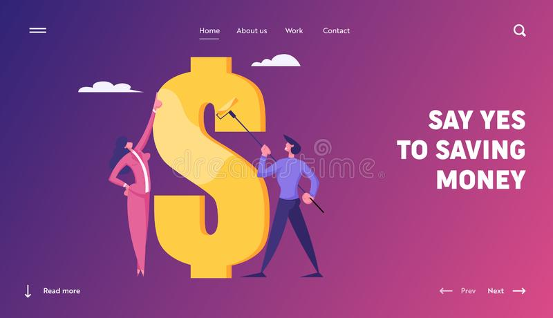 Financial Money Profit Wealth, Capital Website Landing Page. Businessman Painting Huge Dollar Sign with Gold Paint. Businesswoman Managing Process Web Page vector illustration
