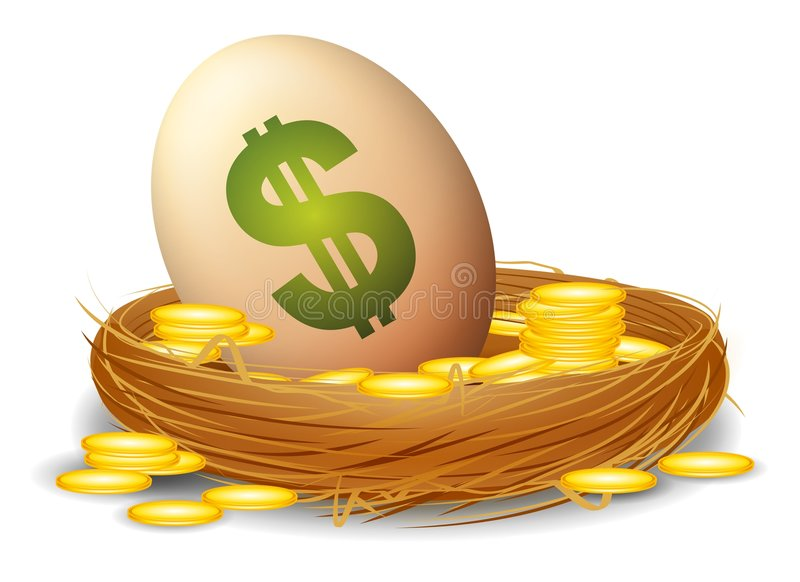 Financial Nest Egg. An illustration featuring an egg with a dollar sign sitting in a bird's nest with gold coins to represent a financial 'nest egg vector illustration