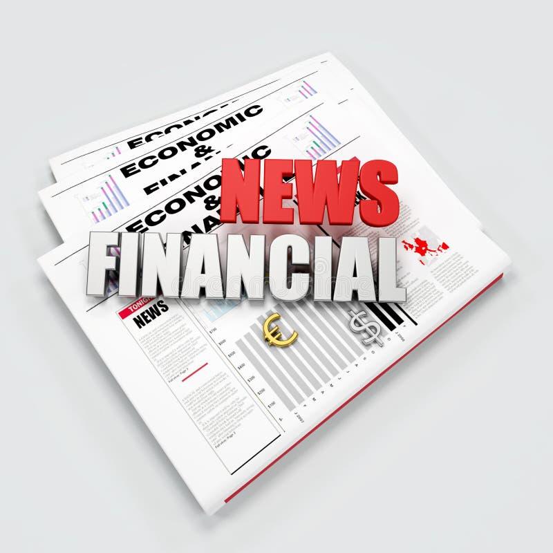 Financial news logo. On newspaper - digital artwork vector illustration