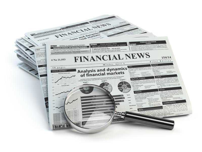 Financial news newspaper isolated on white background. 3d illustration vector illustration