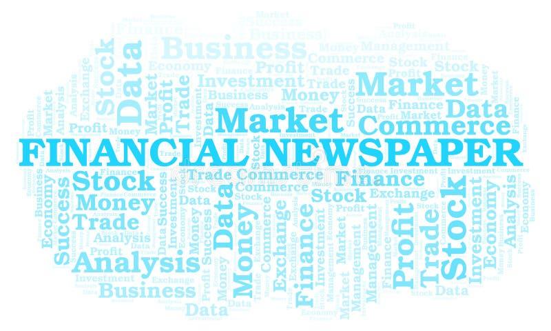Financial Newspaper word cloud. Financial Newspaper word cloud, wordcloud made with text only stock illustration
