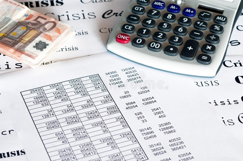 Financial numbers. List of accounting and banking numbers royalty free stock images