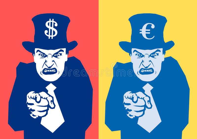 Financial oppression. Angry man is pointing at viewer. Symbol of euro / US dollar on the hat. Metaphor of financial oppression - tax collector, banker and policy