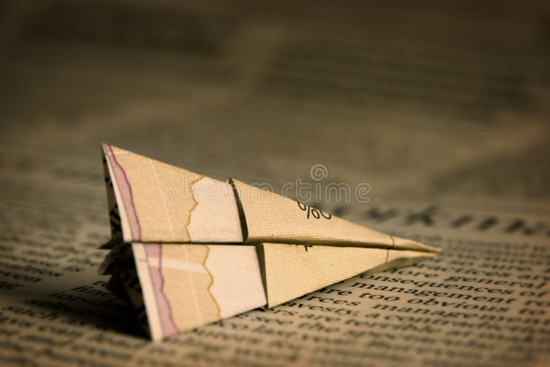 Financial Paper Plane stock images