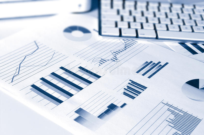 Financial performance graphs stock image
