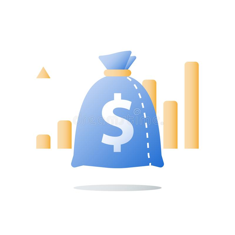 Financial performance report, high interest rate, multiply capital, future income, positive trend, ascending graph. Revenue growth, value increase, financial royalty free illustration