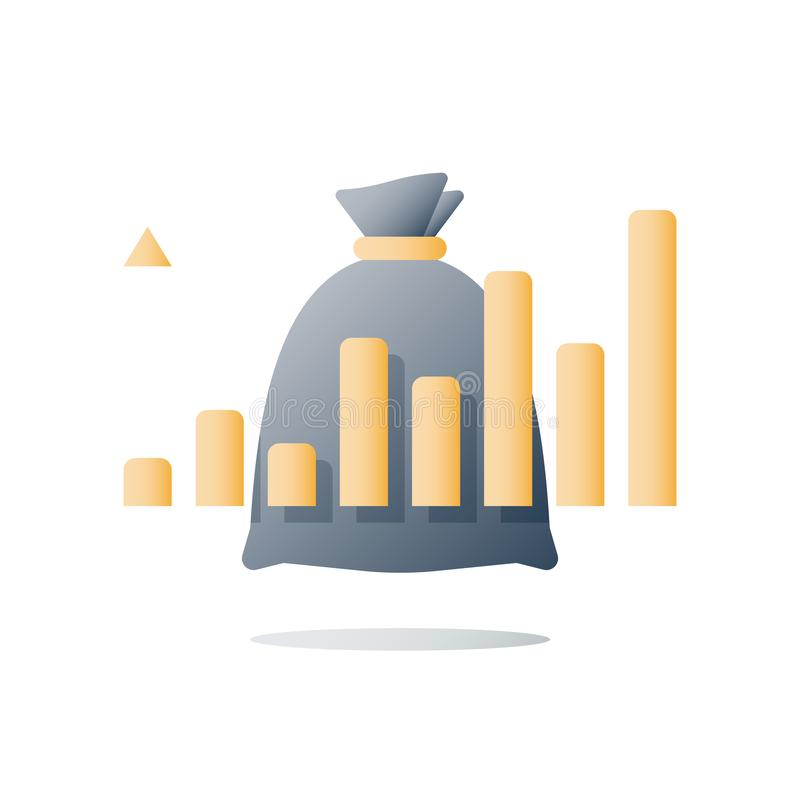Financial performance report, high interest rate, multiply capital, future income, positive trend, ascending graph. Revenue growth, value increase, financial vector illustration