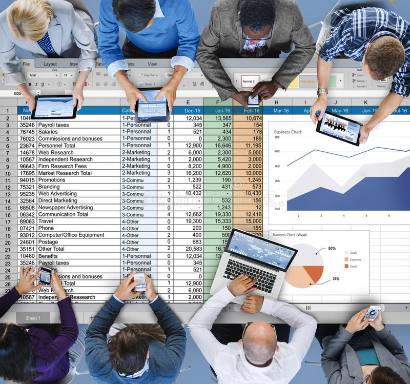 Financial Planning Accounting Report Spreadsheet Concept.  royalty free stock photo