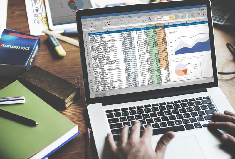 Financial Planning Accounting Report Spreadsheet Concept.  stock images