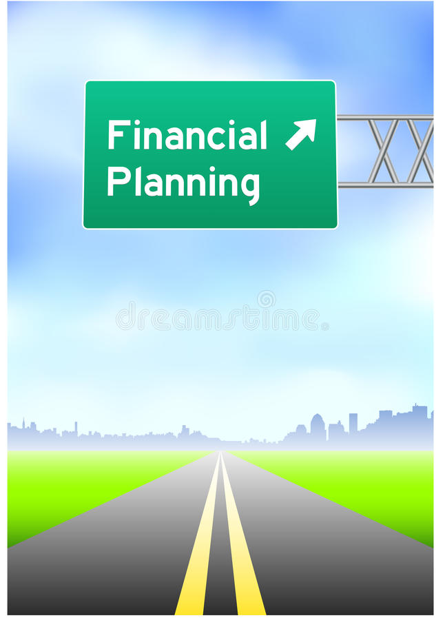 Financial Planning Highway Sign stock illustration