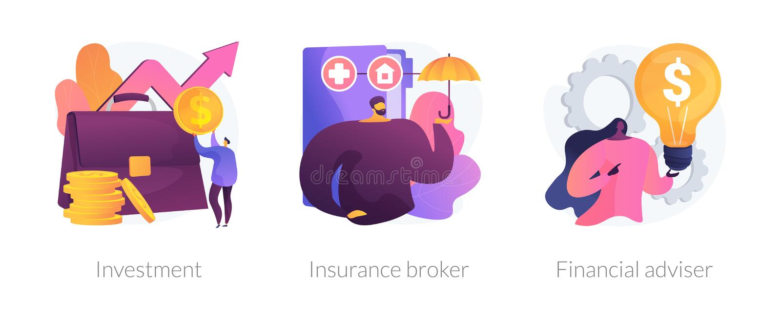 Financial planning vector concept metaphors. Finances management, economic protection service, professional consulting icons set. Investment, insurance broker stock illustration