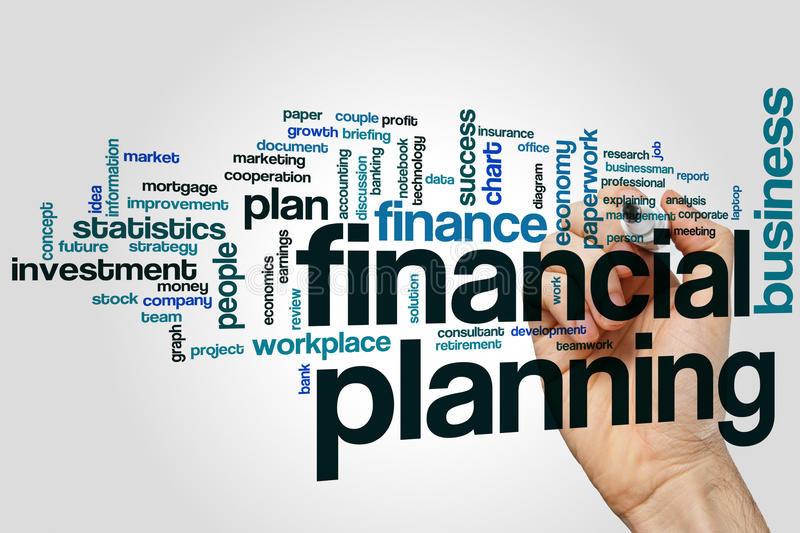 Financial planning word cloud concept on grey background royalty free stock image