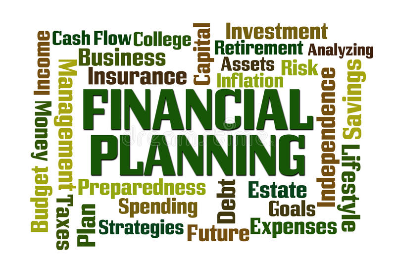 Financial Planning. Word cloud on white background