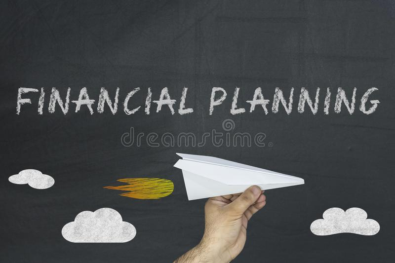 Financial planning words on blackboard royalty free stock images
