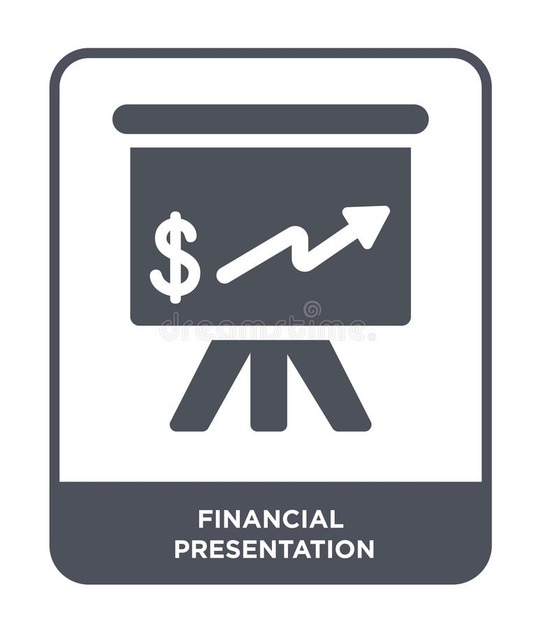 Financial presentation icon in trendy design style. financial presentation icon isolated on white background. financial. Presentation vector icon simple and vector illustration