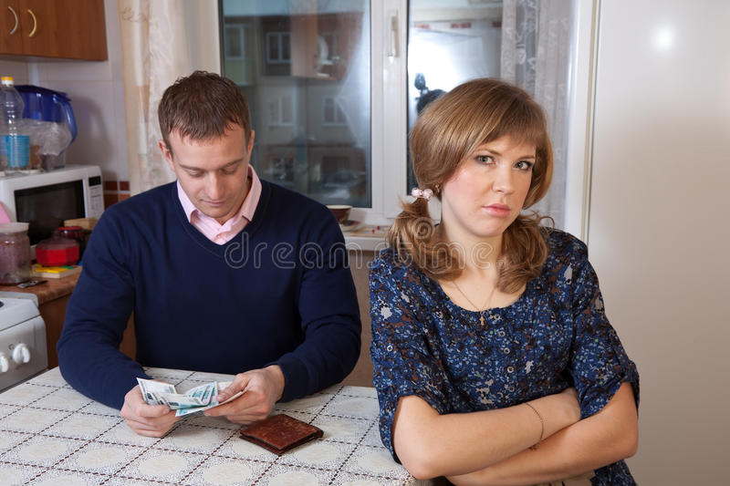 Financial problems in the family. The quarrel in the family over money stock image