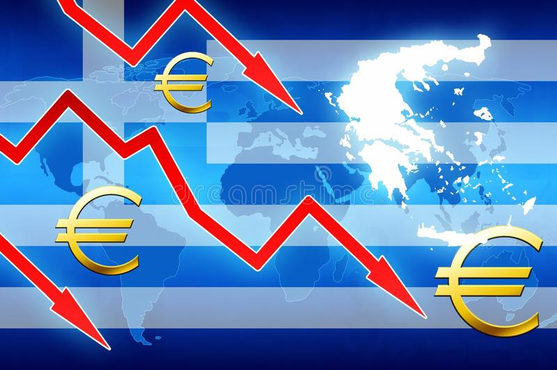 Financial Problems In Greece Red Arrows Euro Currency Symbol Concept
