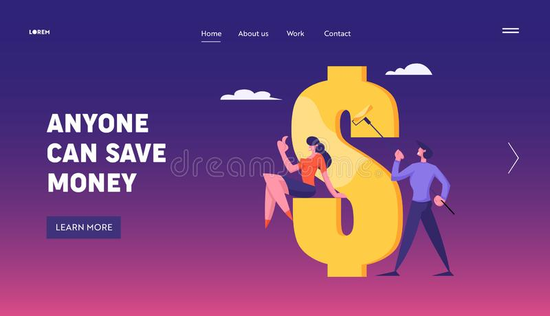 Financial Profit Salary Wealth Capital Website Landing Page. Successful Business Man Painting Huge Dollar Sign. With Gold Paint, Woman Watching Process Web Page royalty free illustration