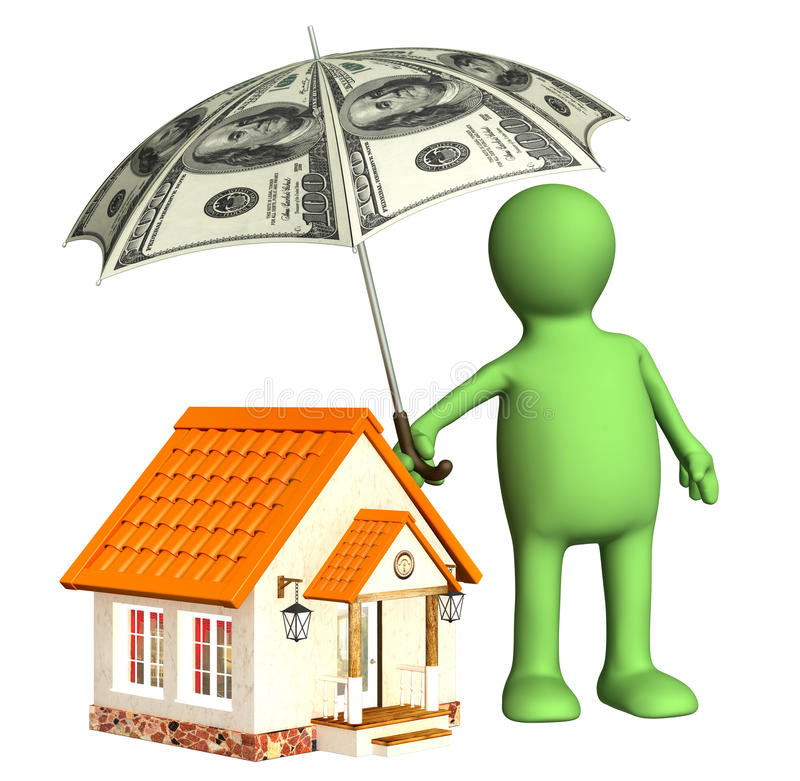 Financial protection. Puppet with umbrella and house stock illustration