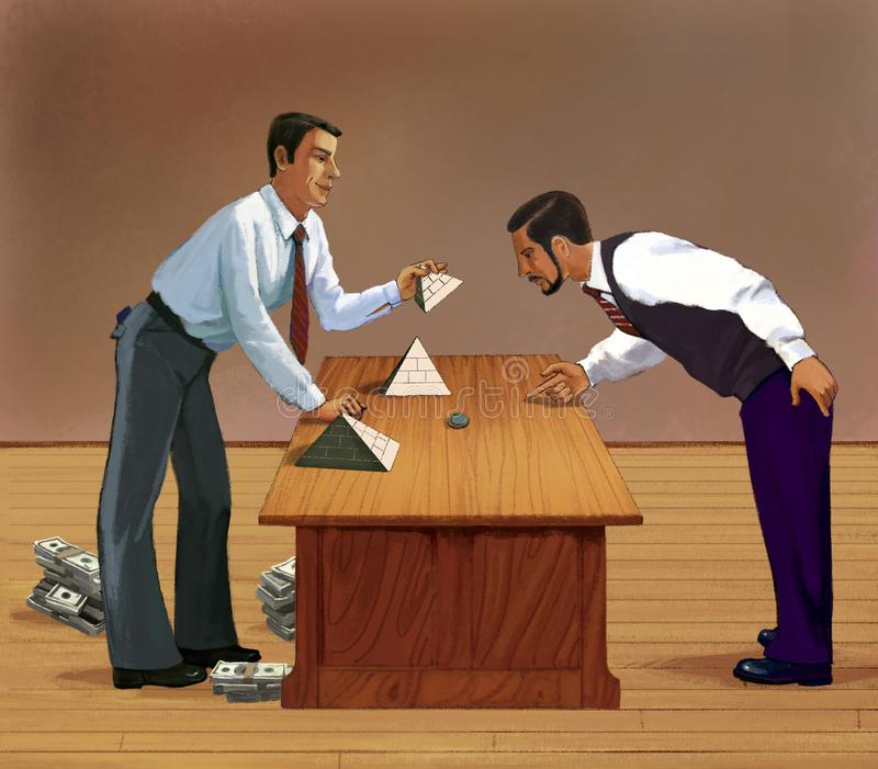 Financial Pyramide.  Fraudulent investment. Fraudulent game of thimbles. Man invites to another man to guess under which pyramid of dollars is a coin. Fraudulent vector illustration