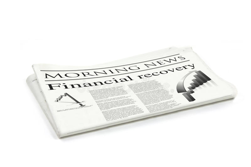 Financial recovery newspaper stock image